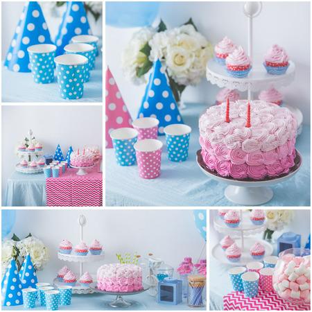 decoracion de pasteles: Collage del retrato de feliz cumpleaños concepto de mesa con lleno de dulces y pastel de regalo