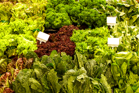 portrait of various of fresh vegetables at grocery