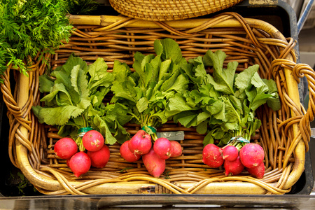portrait of fresh red radish with leaves in basket at grocery store