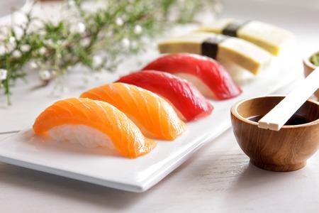 portait: portait of japanese food nigiri sushi sets on white plate