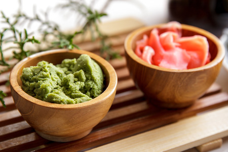 pungent: Wasabi, a pungent green Japanese condiment made from the root of the herb Eutrema wasabi Stock Photo