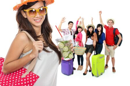 vacation summer: group of happy excited traveler. summer vacation concept Stock Photo