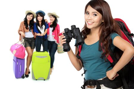 group of happy excited female traveler. summer vacation concept photo