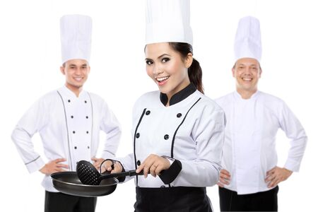 portrait of group of chef isolated over white background photo