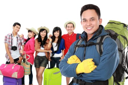 group of traveler ready to go for summer vacation photo