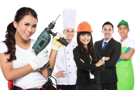 female engineering standing in front of people with different kind of profession photo