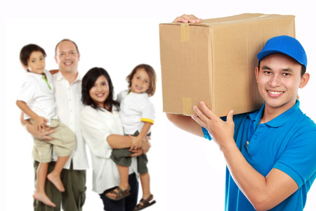 portrait of professional delivery services for your family. house moving concept photo