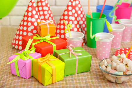 portrait of colorful table set for child party