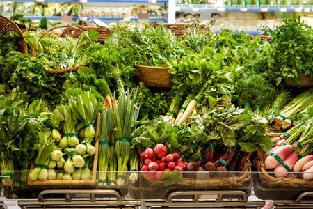 portrait of various types of vegetables for ingredients at grocery Stock Photo