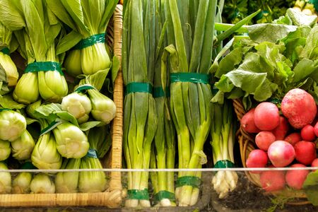 red onions: portrait of mustard greens, spring onions, and red radish in display basket at grocery Stock Photo