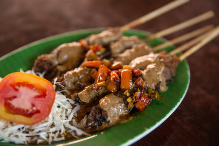 portrait of traditional indonesian chicken satay grill with peanut sauce Stock Photo
