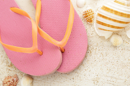 close up portrait of pink flipflops with seashells on white wooden board Stock Photo