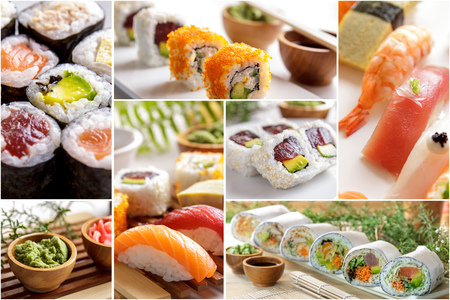 maguro: collage of japanese food and various sushi on white plate