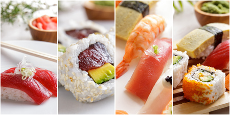 collage of japanese food of various sushi on white plate