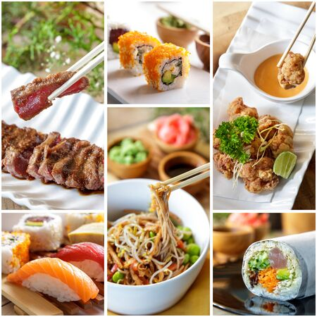collage of japanese food and various sushi on white plate