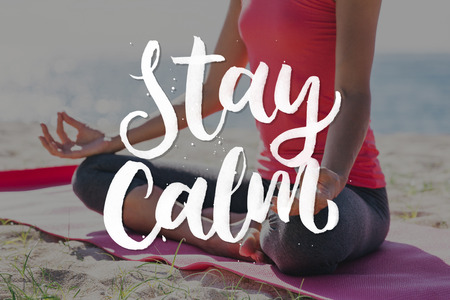 staying fit: stay calm. close up portrait of hand and body of woman doing meditation pose outdoor as a background