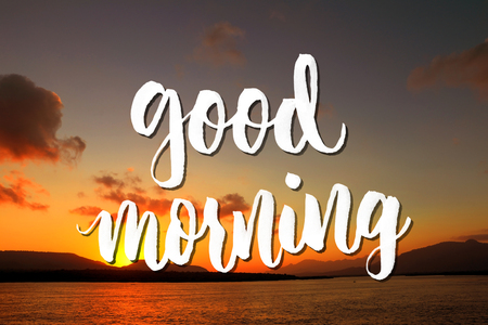good morning quote on beautiful beach background