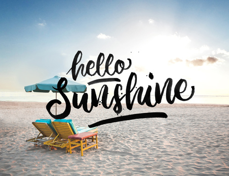 hello sunshine quote on beautiful summer beach background