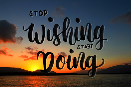 stop wishing start doing quote on beautiful beach background