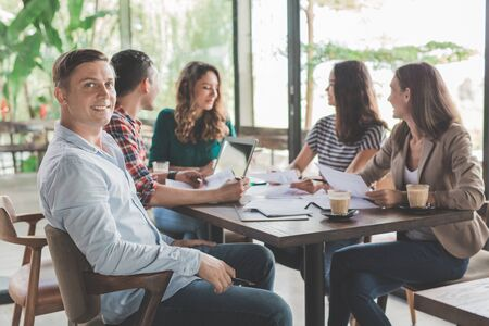 Business People Meeting Corporate Communication Teamwork Concept in coffee shop Stock Photo