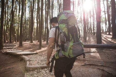 Hiker - portrait of asian man hiking in forest. shoot from behind