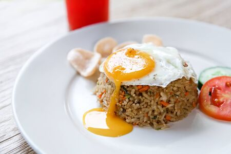 close up portrait of homemade indonesian fried rice Banque d'images