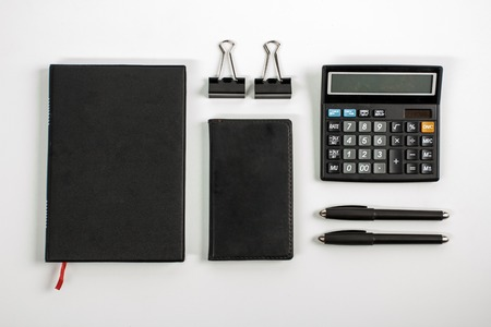 accounting stationary set for business mock up Stock Photo
