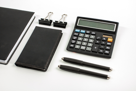 accounting stationary set for business mock up Stok Fotoğraf