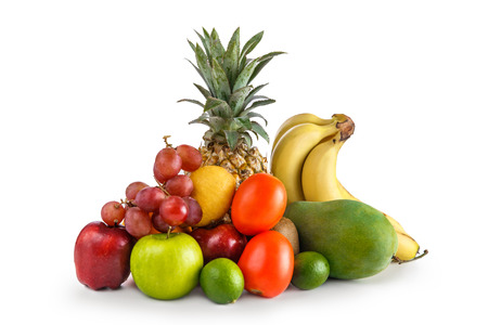 portrait of Assortment of tropical fruits isolated on white background