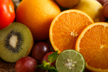 close up portrait of fresh mixed tropical fruits