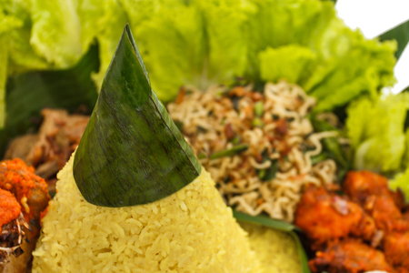 close up portrait of indonesian food nasi tumpeng for celebration