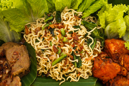 close up portrait of mie goreng for side dish on nasi tumpeng
