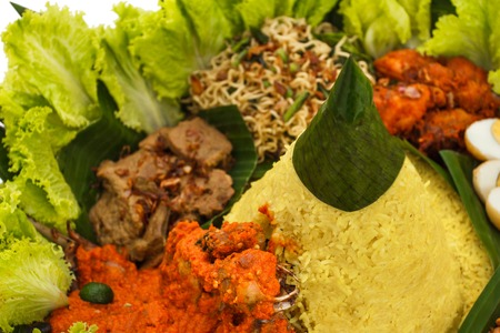 portrait of indonesian cuisine nasi tumpeng for celebration