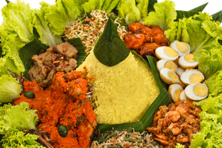 portrait of indonesian cuisine nasi tumpeng for celebration