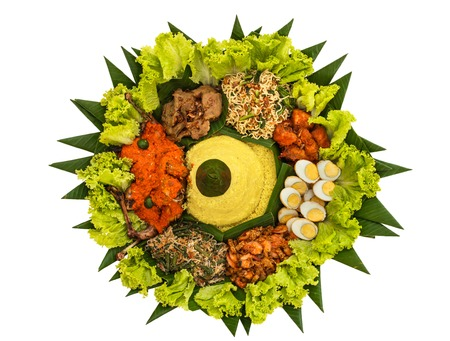 top view portrait of nasi tumpeng for celebration, indonesian cuisine isolated on white background Stock Photo - 93305208