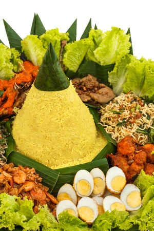 portrait of indonesian food nasi tumpeng for celebration