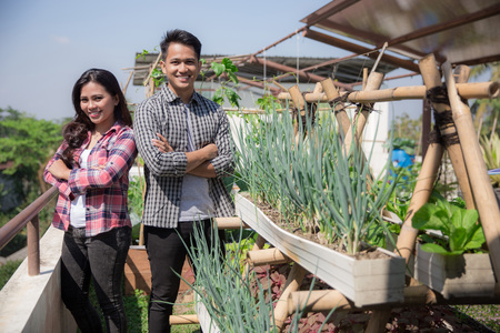 young people with urban farming concept