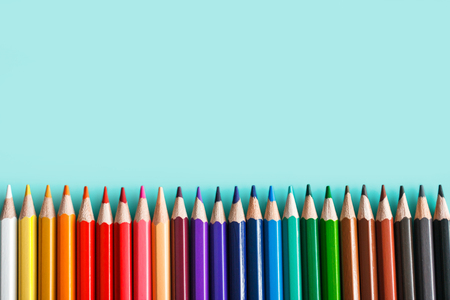 set of colorful pencils on pastel background Reklamní fotografie