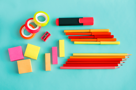 colorful office stationary on pastel background Reklamní fotografie