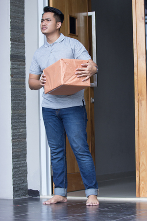 man recieve a delivery box Stock Photo