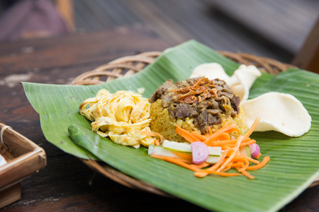indonesian food rice and fried chicken Stock Photo