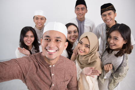 Group of men and woman asian muslim