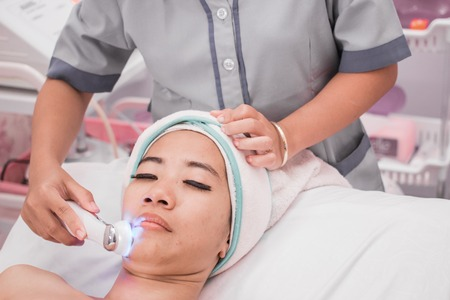 woman getting rf lifting procedure Stock Photo