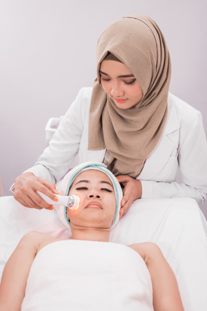 collagen mask. rf skin tightening machine Stock Photo