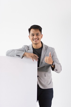 Asian Young Business with blank board
