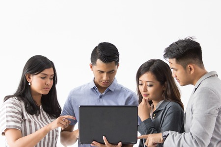 Group of young business concept with laptop Stock Photo