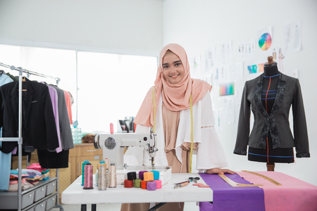 attractive muslim woman fashion designer Stock fotó