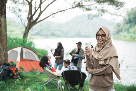 asian woman Camping with friend