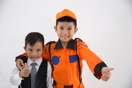 kid with business and technician profession