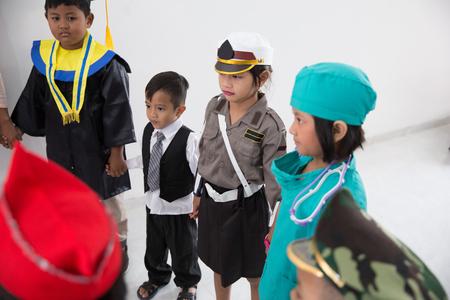 kids with diverse multi profession uniform